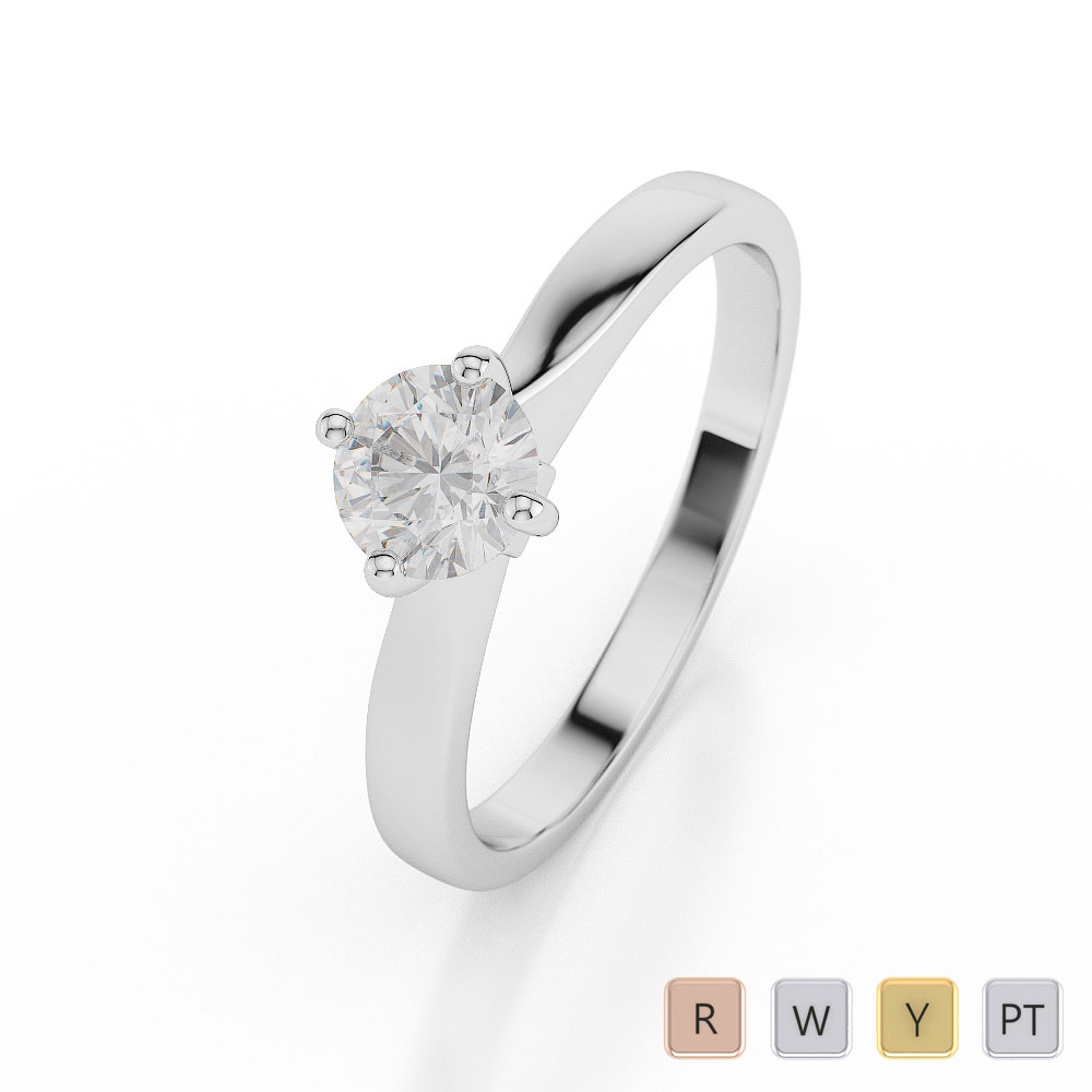 Gold / Platinum Round Shape Diamond Solitaire Ring AGDR-1026