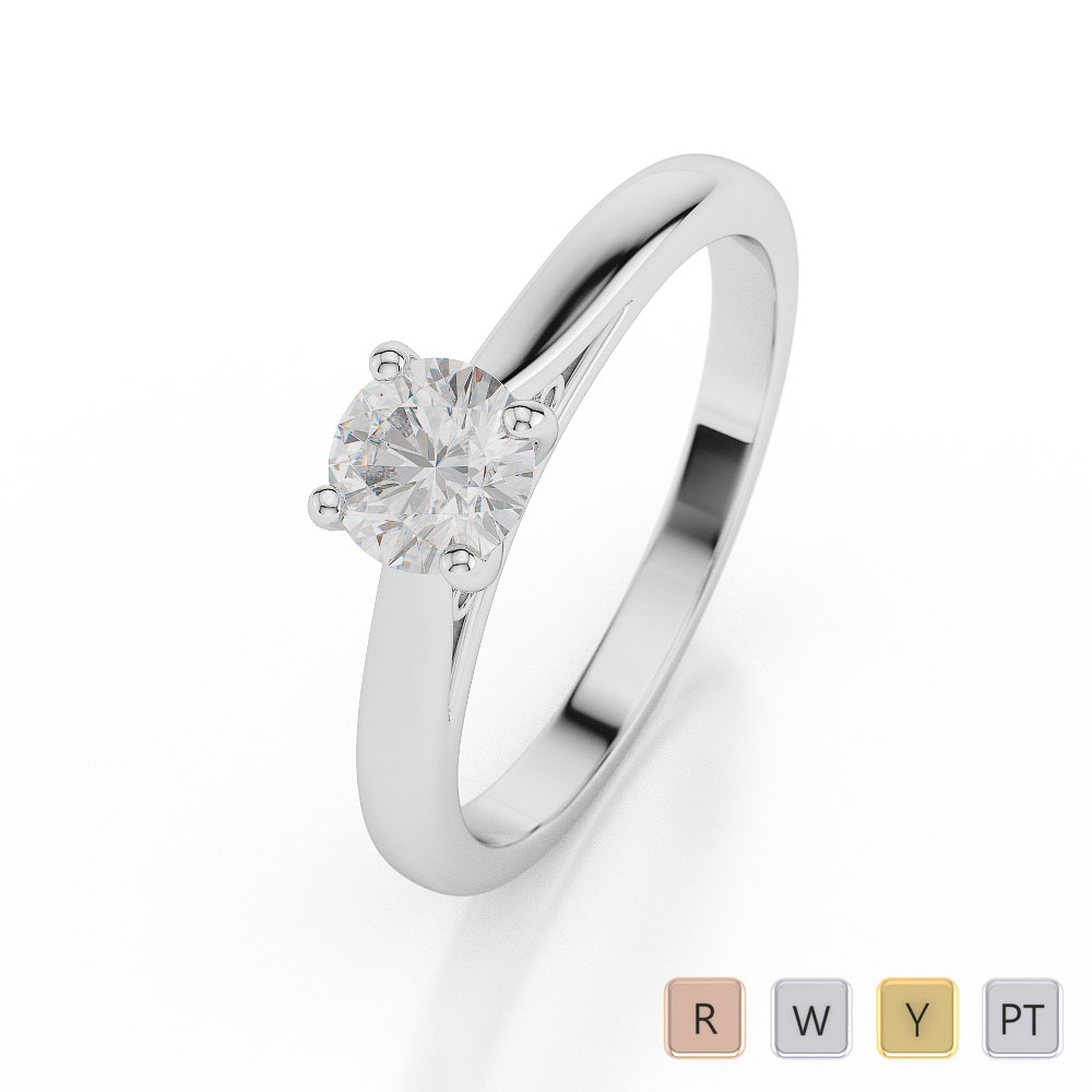 Gold / Platinum Round Shape Diamond Solitaire Ring AGDR-1030
