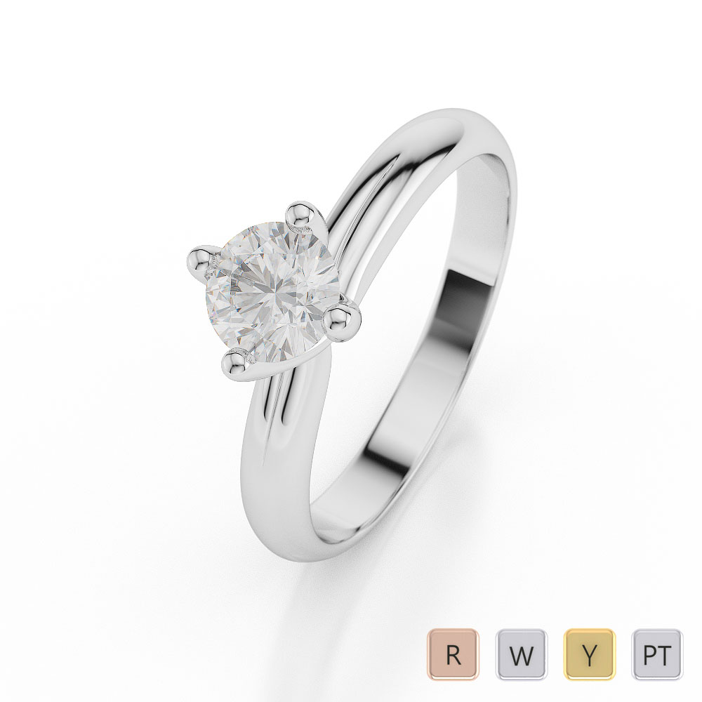 Gold / Platinum Round Shape Diamond Solitaire Ring AGDR-1031