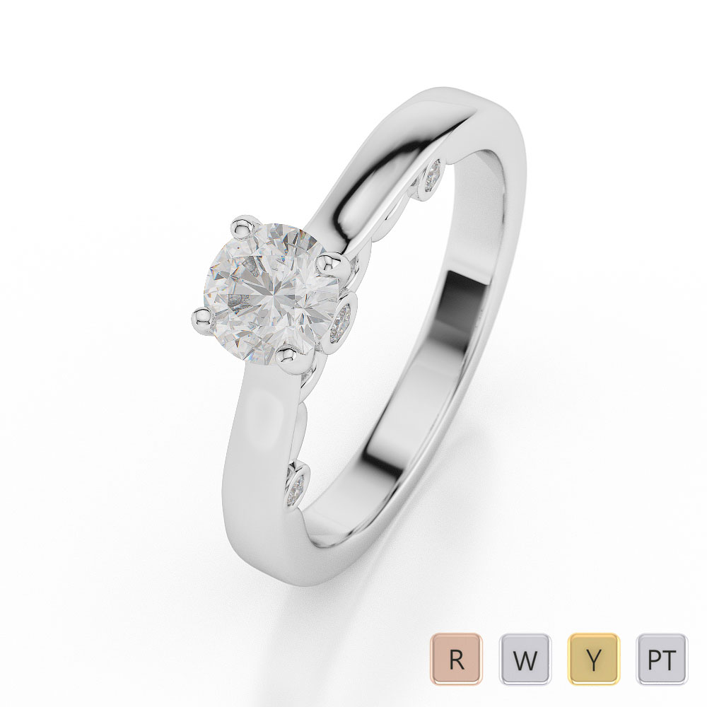 Gold / Platinum Round Shape Diamond Solitaire Ring AGDR-1033