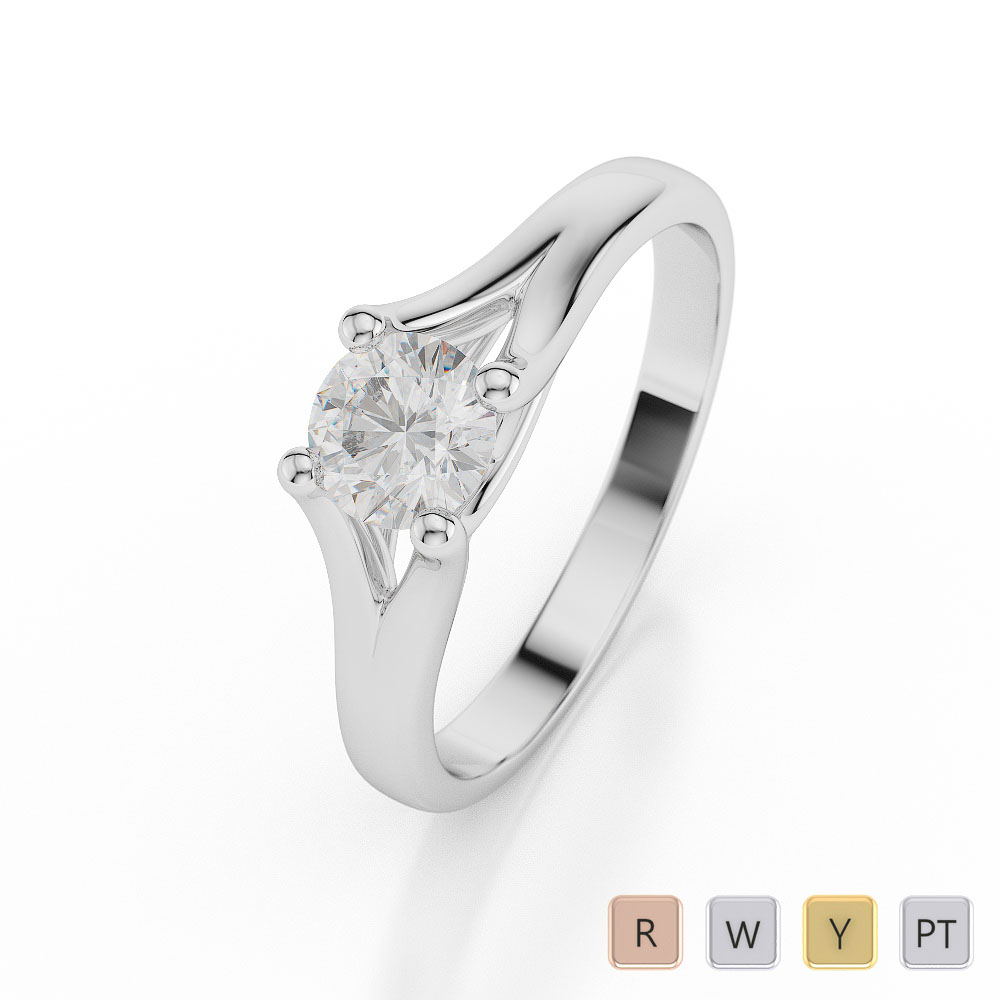 Gold / Platinum Round Shape Diamond Solitaire Ring AGDR-1034