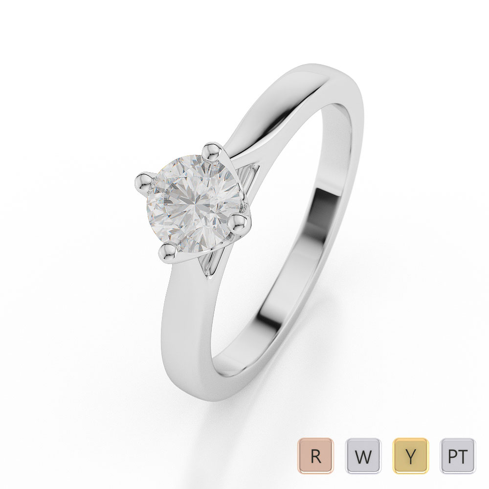 Gold / Platinum Round Shape Diamond Solitaire Ring AGDR-1036