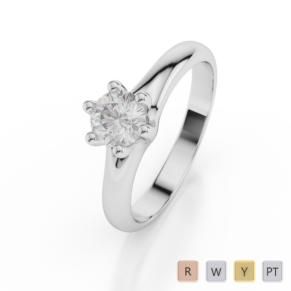 Gold / Platinum Round Shape Diamond Solitaire Ring AGDR-1037