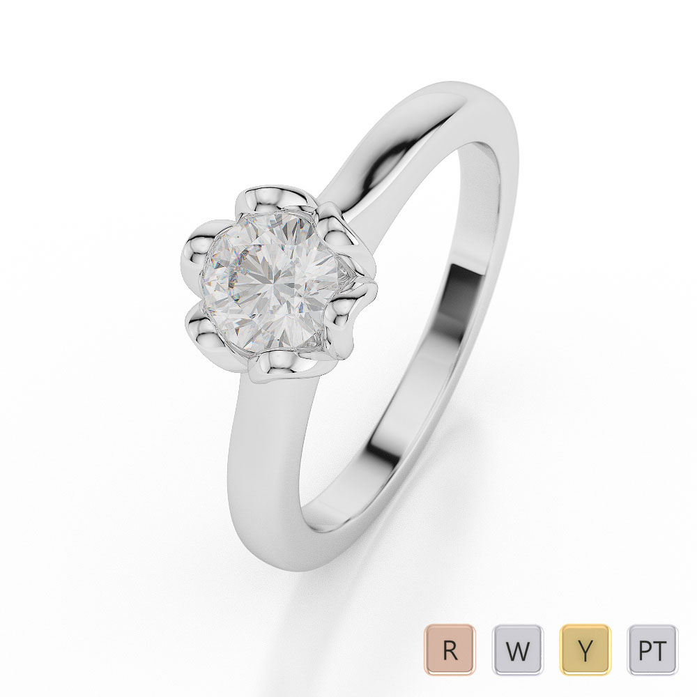 Gold / Platinum Round Shape Diamond Solitaire Ring AGDR-1038