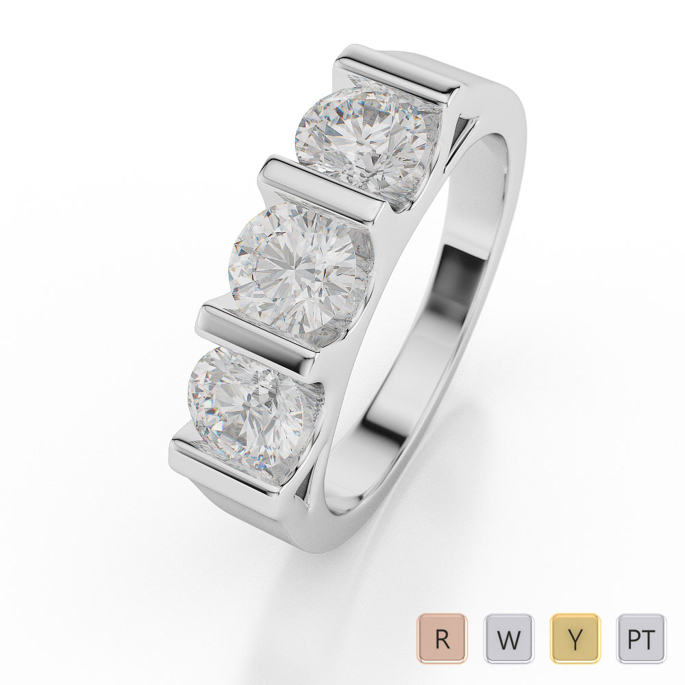 Gold / Platinum Diamond 3 (Three) Stone Ring AGDR-1041