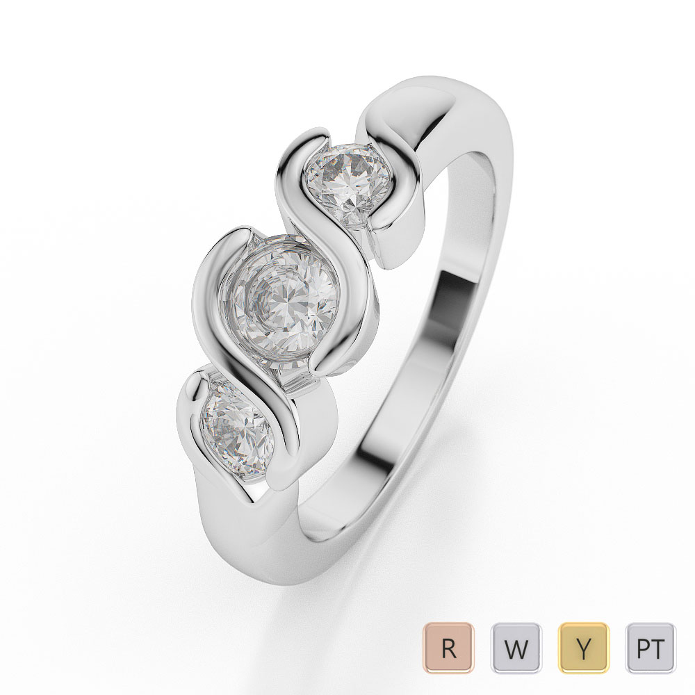 Gold / Platinum Diamond 3 (Three) Stone Ring AGDR-1042