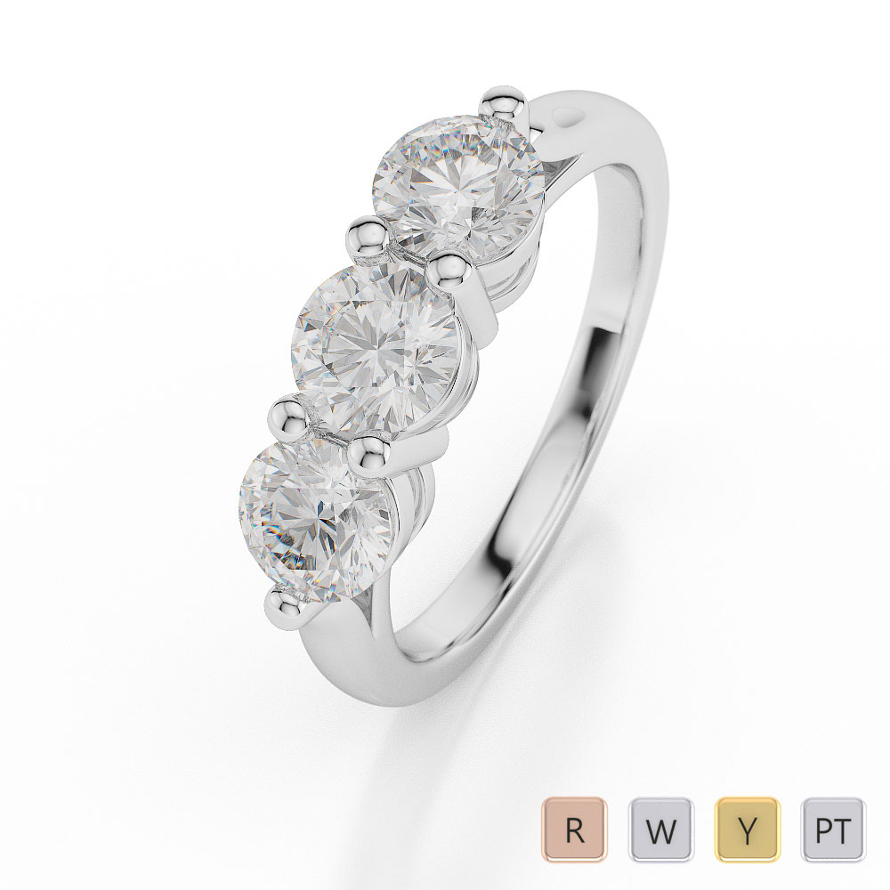 Gold / Platinum Diamond 3 (Three) Stone Ring AGDR-1043