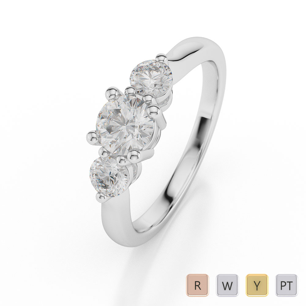 Gold / Platinum Diamond 3 (Three) Stone Ring AGDR-1044