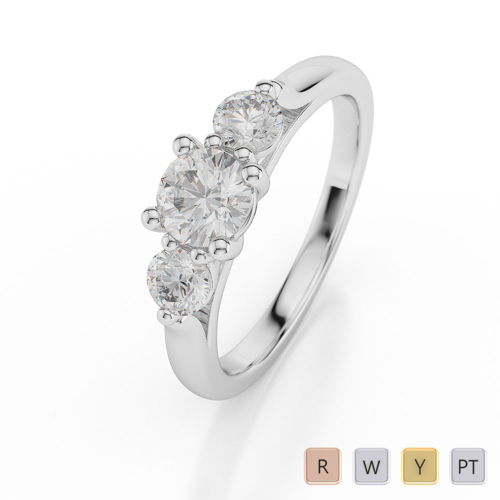 Gold / Platinum Diamond 3 (Three) Stone Ring AGDR-1045