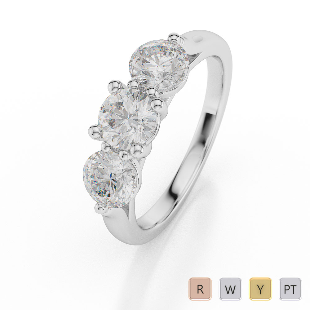 Gold / Platinum Diamond 3 (Three) Stone Ring AGDR-1046