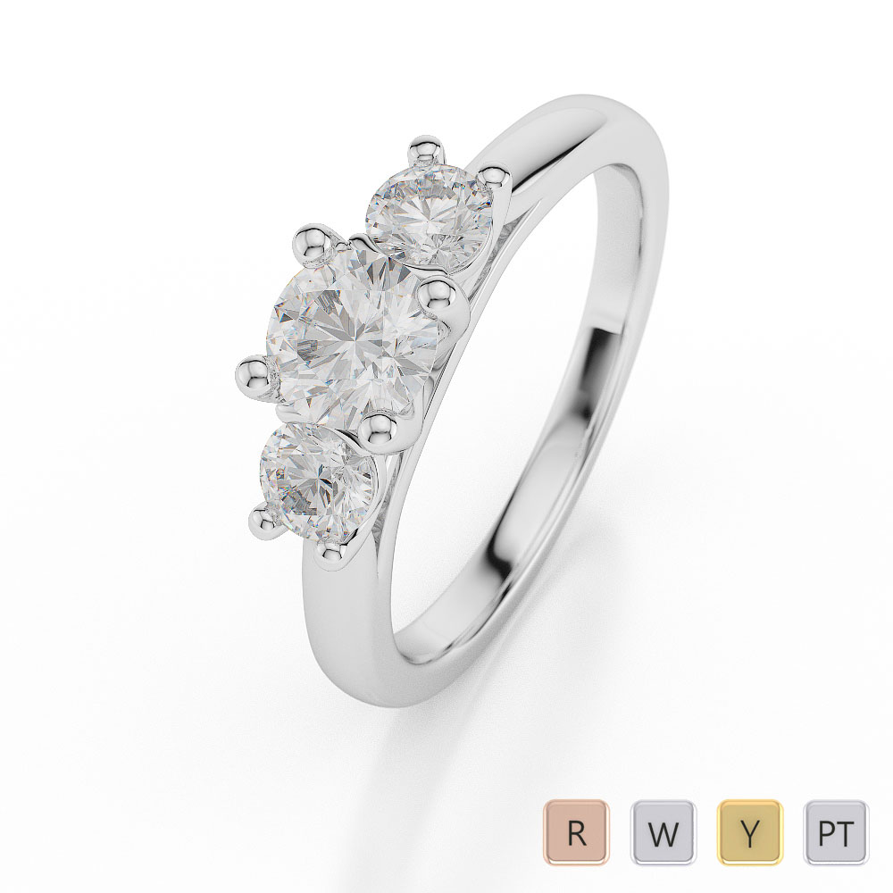 Gold / Platinum Diamond 3 (Three) Stone Ring AGDR-1047