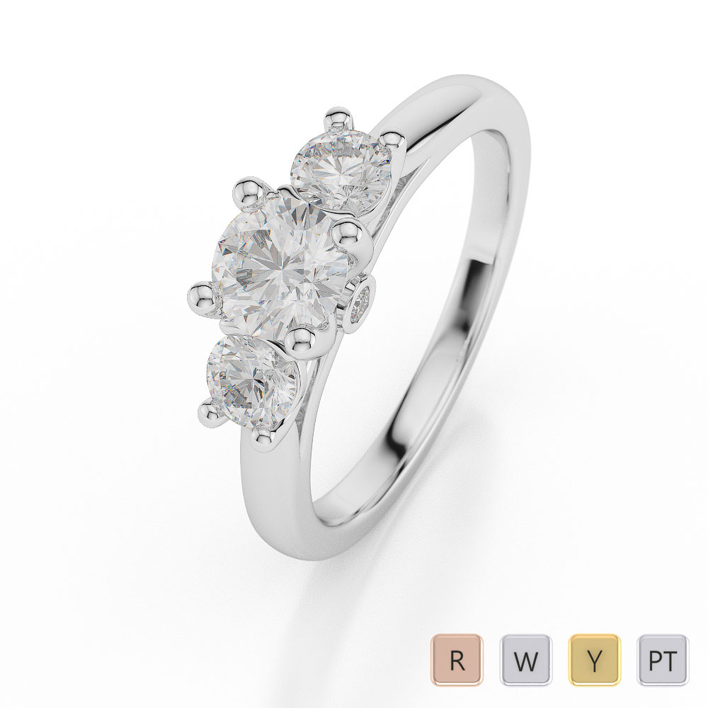 Gold / Platinum Diamond 3 (Three) Stone Ring AGDR-1048