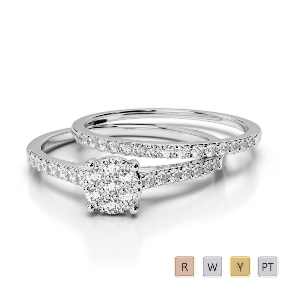Gold / Platinum Round cut Diamond Bridal Set Ring AGDR-1053