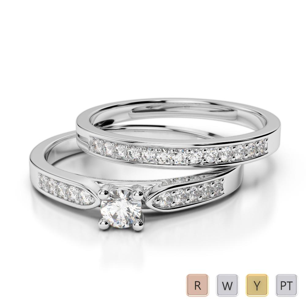 Gold / Platinum Round cut Diamond Bridal Set Ring AGDR-1054