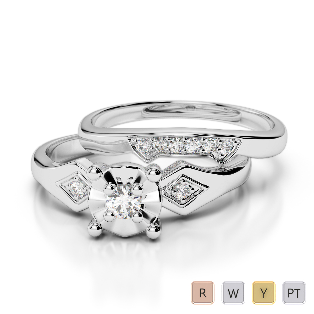 Gold / Platinum Round cut Diamond Bridal Set Ring AGDR-1058