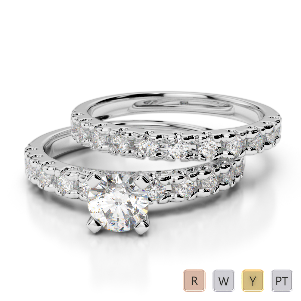 Gold / Platinum Round cut Diamond Bridal Set Ring AGDR-1144