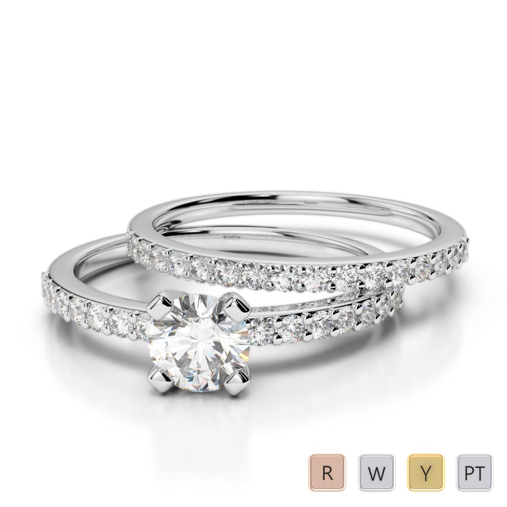 Gold / Platinum Diamond & Gemstone Bridal Set Ring AGDR-1146