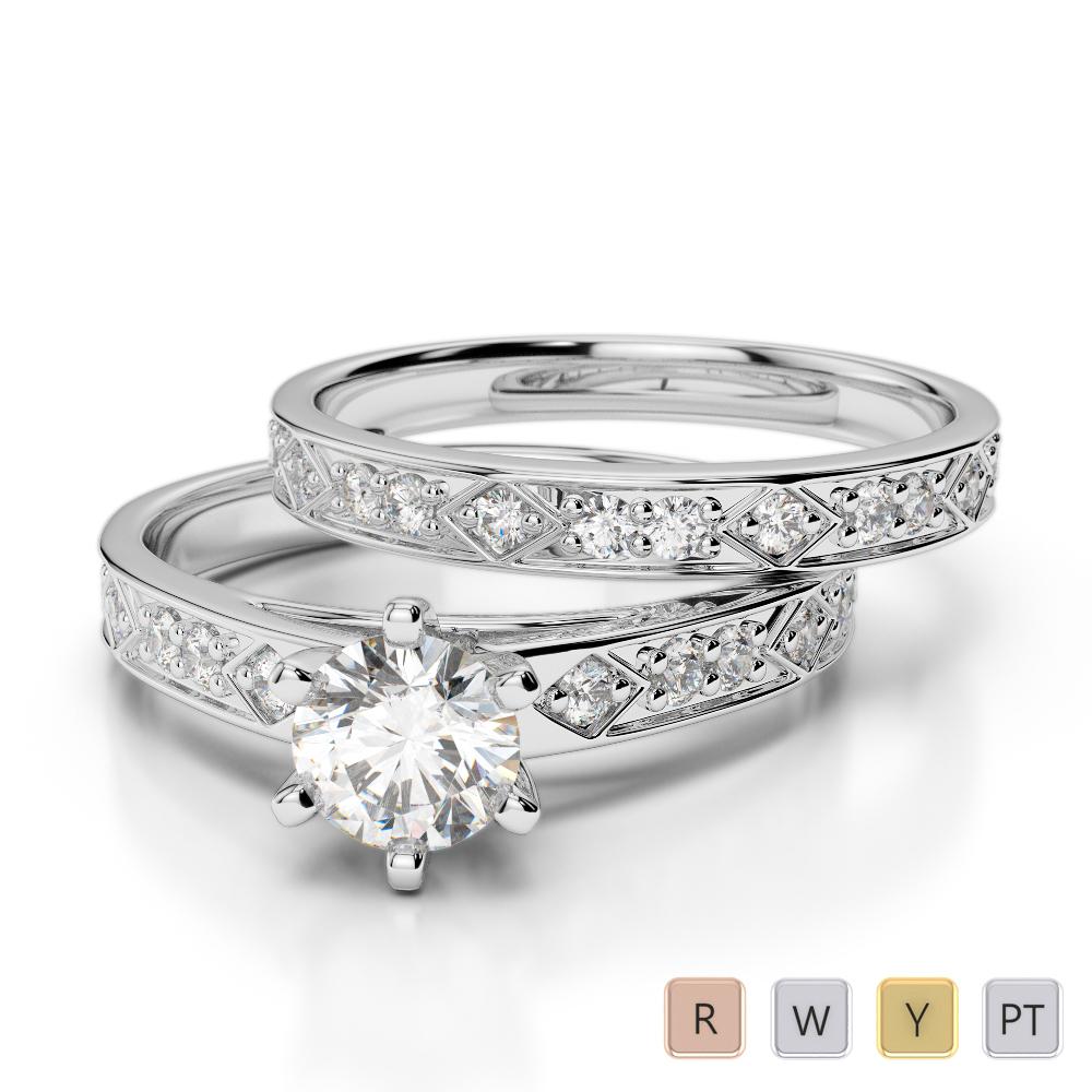 Gold / Platinum Diamond & Gemstone Bridal Set Ring AGDR-1151