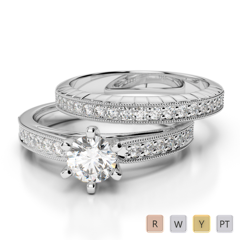 Gold / Platinum Diamond & Gemstone Bridal Set Ring AGDR-1154