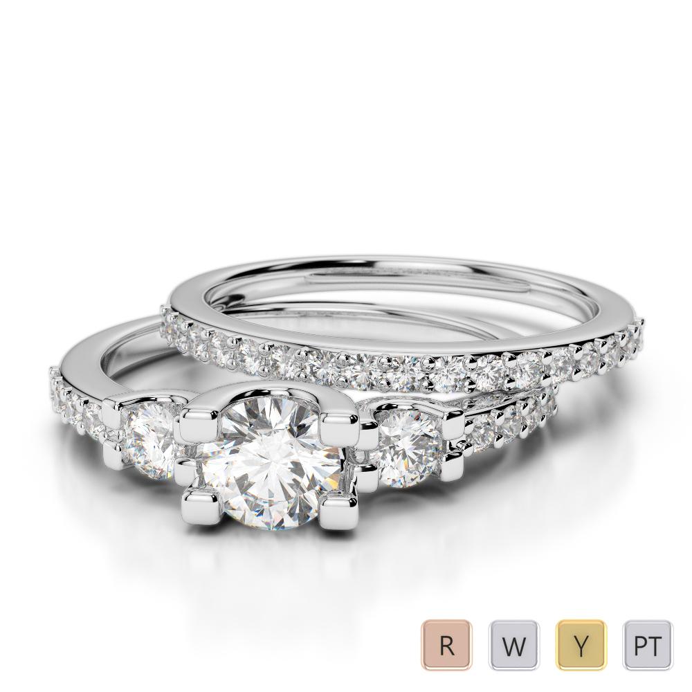 Gold / Platinum Round cut Diamond Bridal Set Ring AGDR-1155
