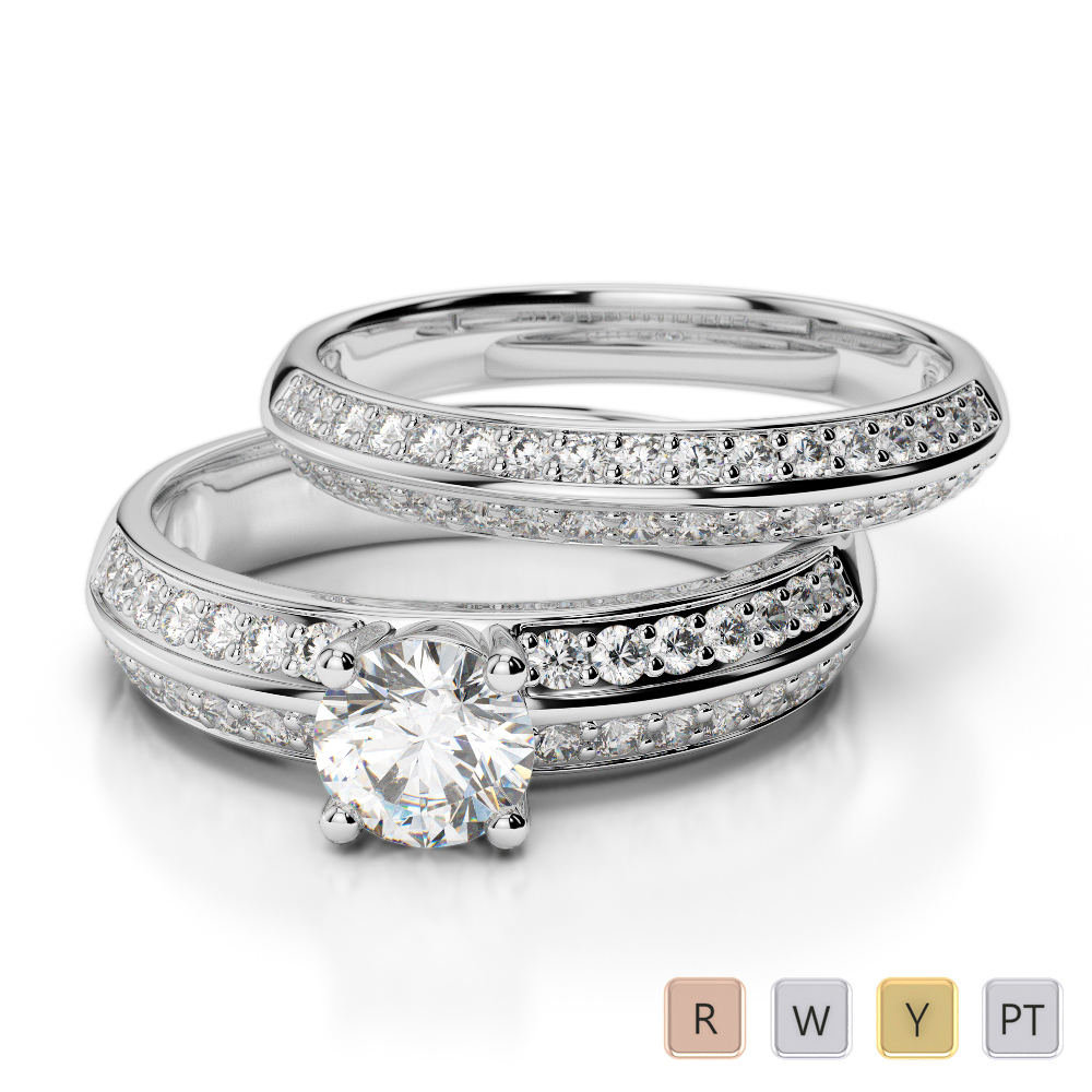 Gold / Platinum Round cut Diamond Bridal Set Ring AGDR-1156