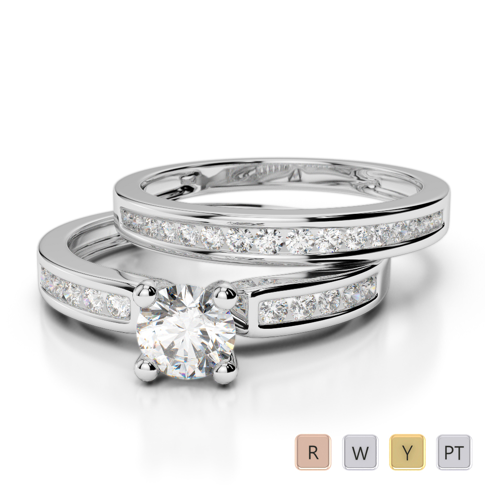 Gold / Platinum Round cut Diamond Bridal Set Ring AGDR-1157