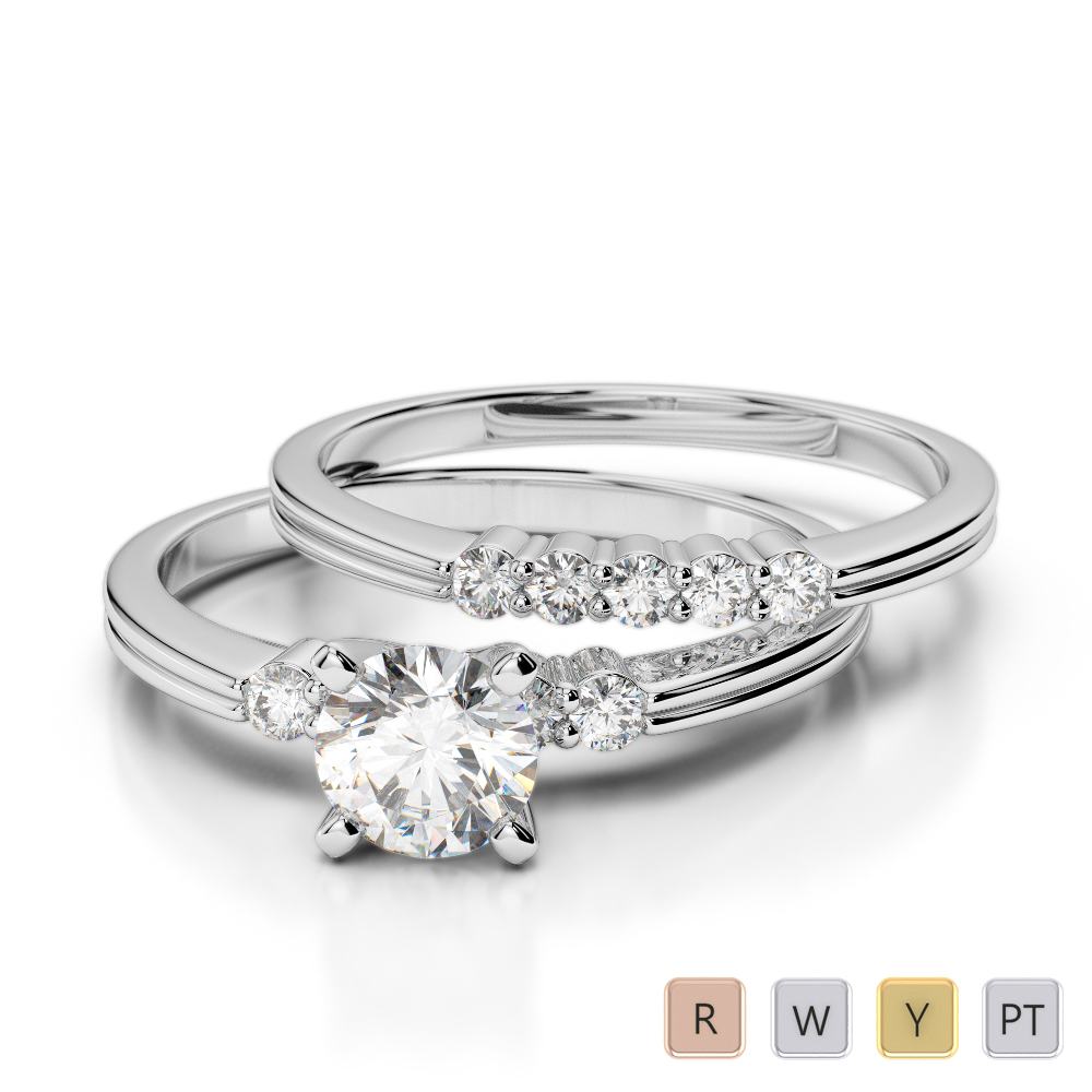 Gold / Platinum Round cut Diamond Bridal Set Ring AGDR-1158