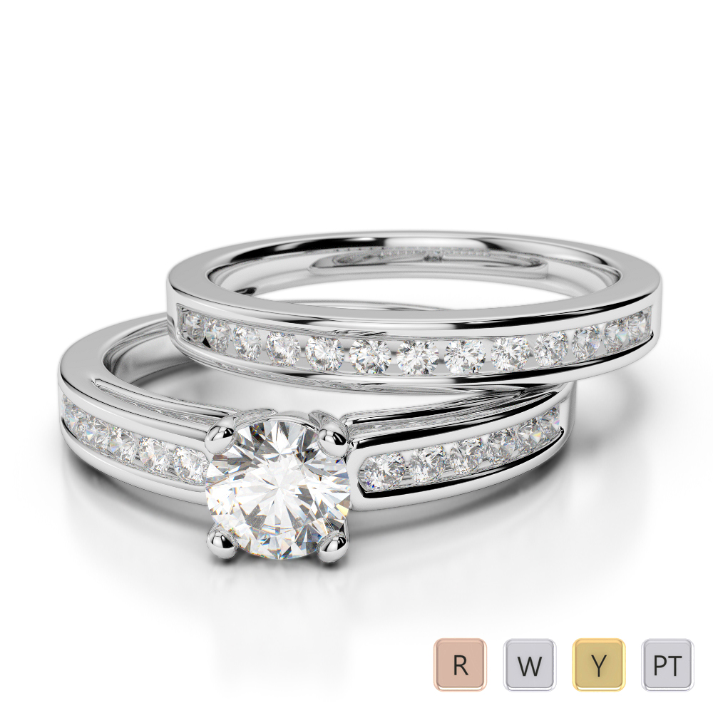 Gold / Platinum Diamond & Gemstone Bridal Set Ring AGDR-1159
