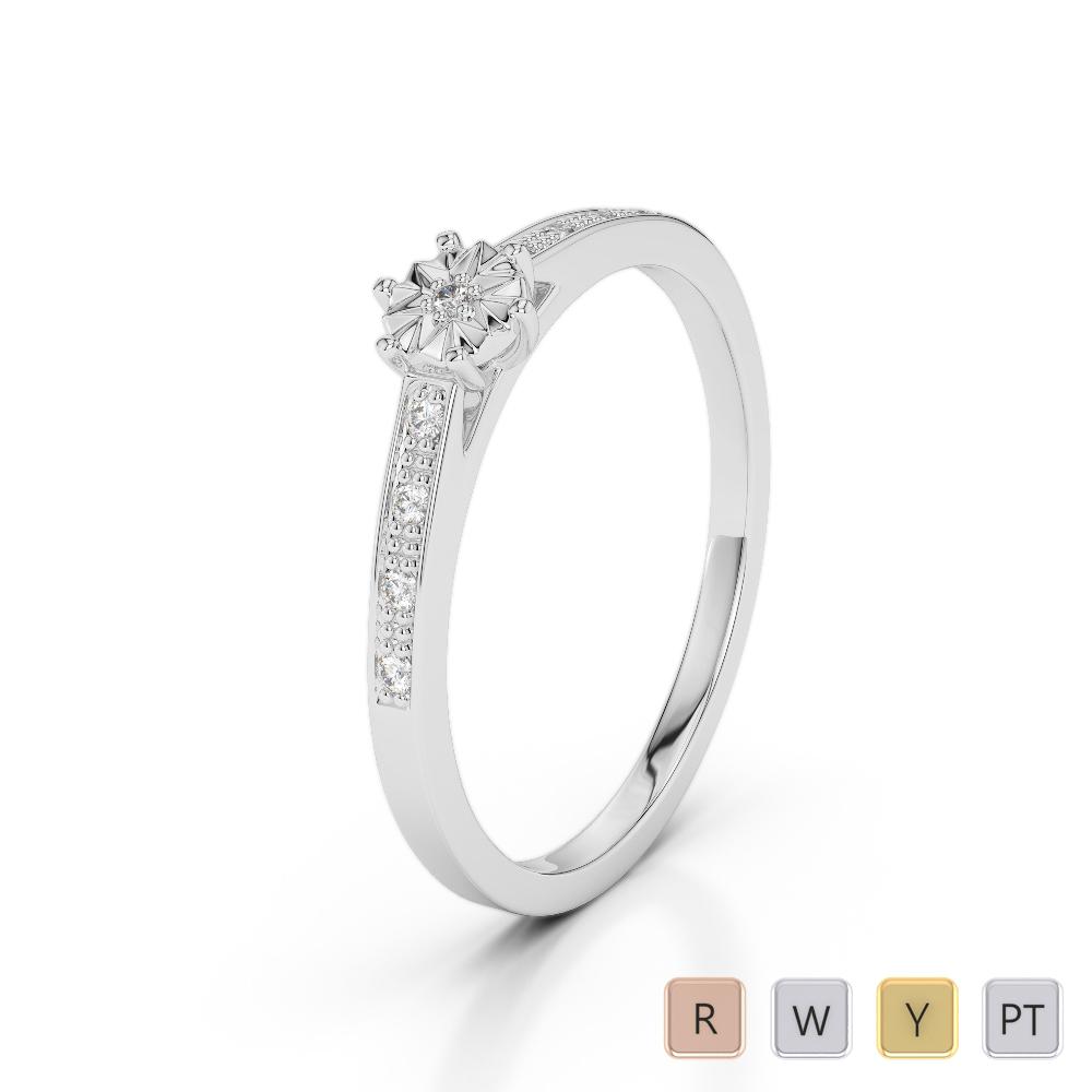 Gold / Platinum Round Cut Diamond Engagement Ring AGDR-1167