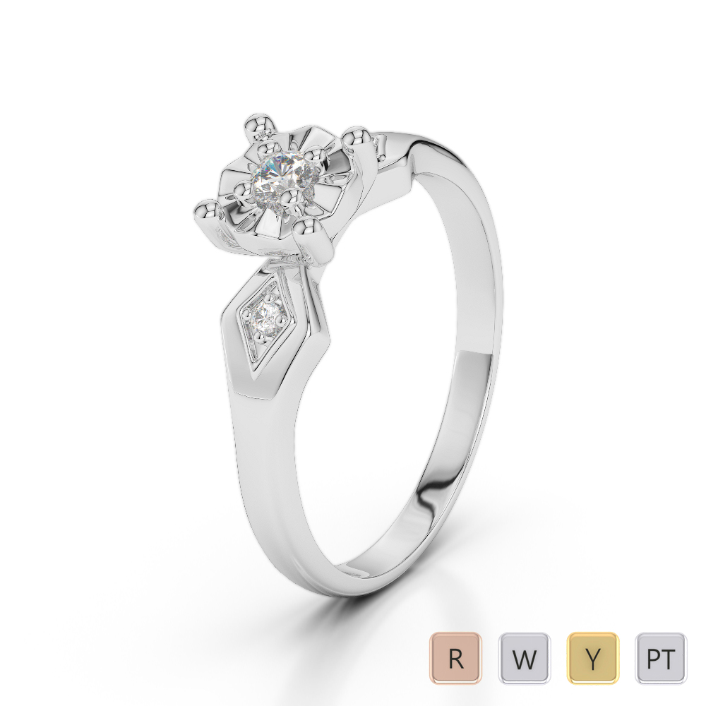 Gold / Platinum Diamond & Gemstone Engagement Ring AGDR-1169