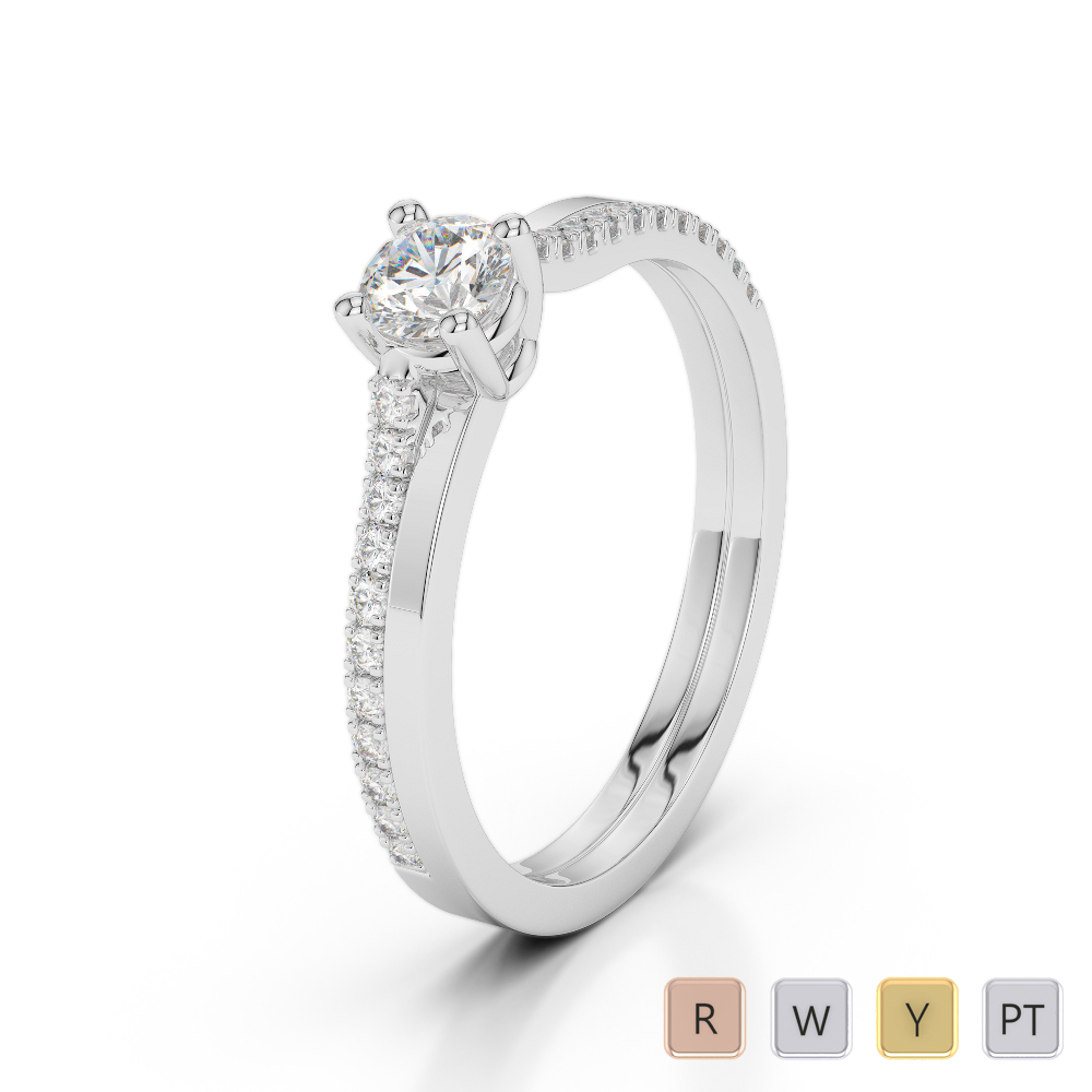 Gold / Platinum Round Cut Diamond Engagement Ring AGDR-1170