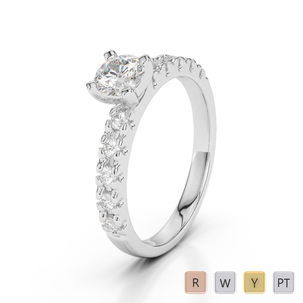 Gold / Platinum Round Cut Diamond Engagement Ring AGDR-1171