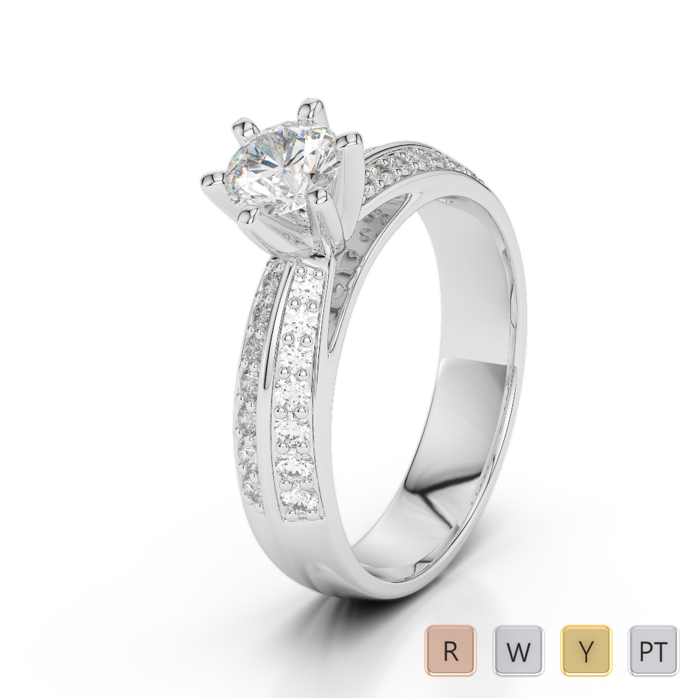 Gold / Platinum Diamond & Gemstone Engagement Ring AGDR-1174