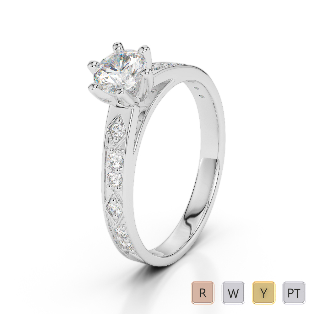 Gold / Platinum Diamond & Gemstone Engagement Ring AGDR-1178