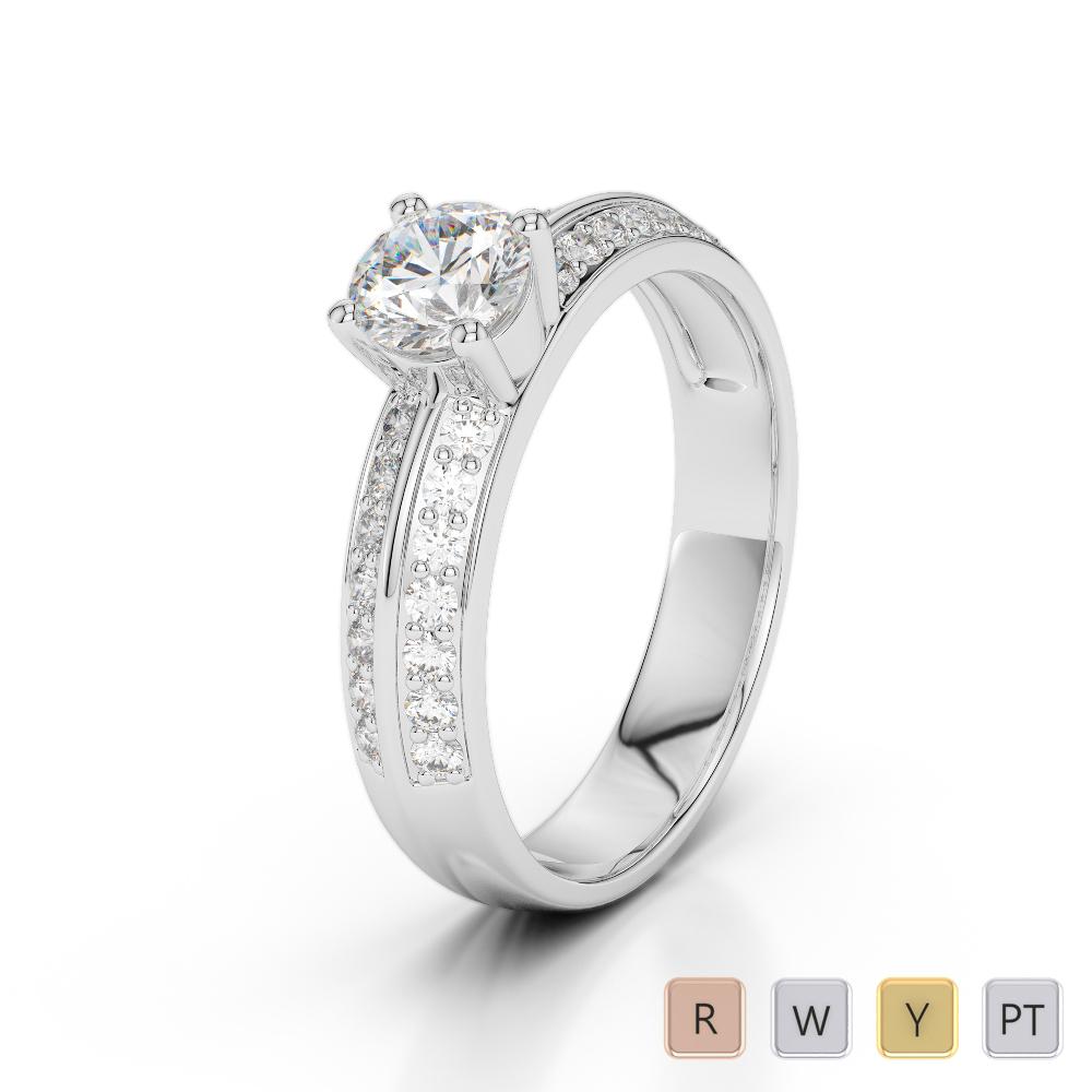 Gold / Platinum Round Cut Diamond Engagement Ring AGDR-1183