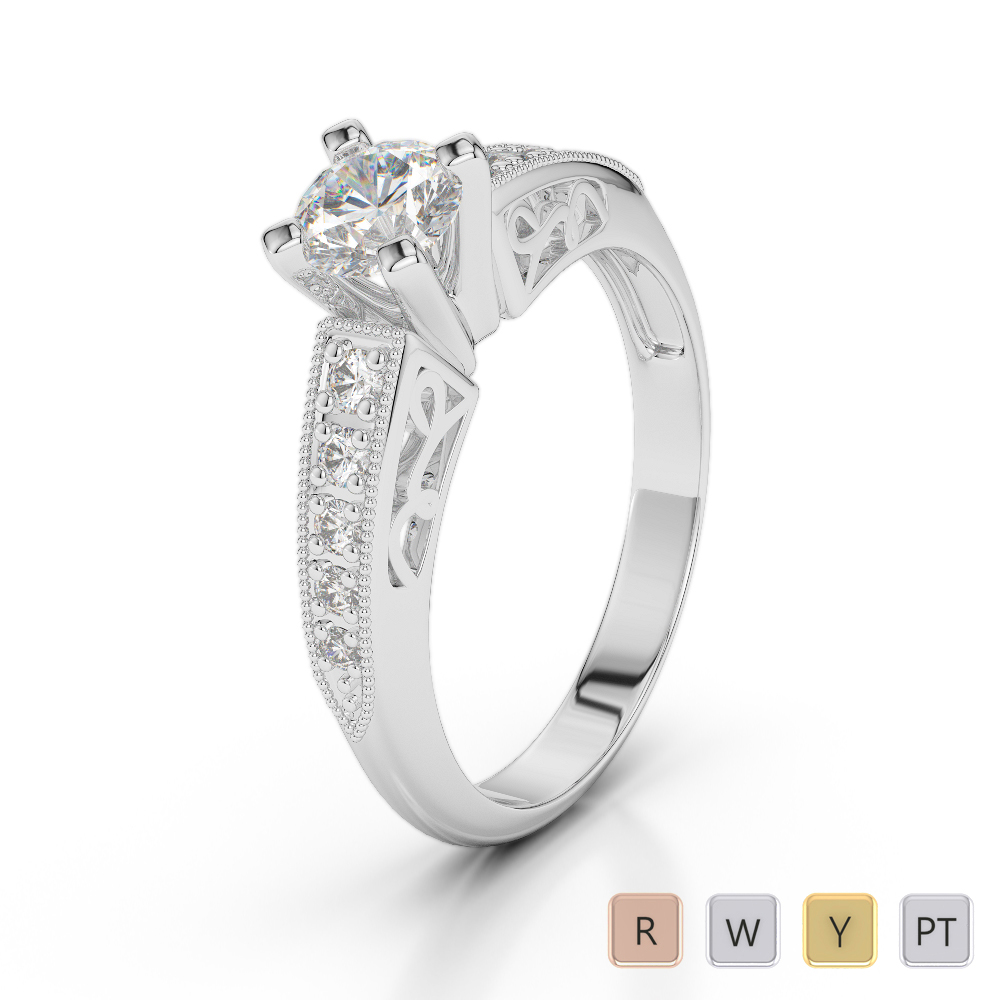Gold / Platinum Diamond & Gemstone Engagement Ring AGDR-1187
