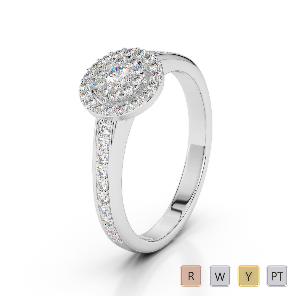 Gold / Platinum Round Cut Diamond Engagement Ring AGDR-1188