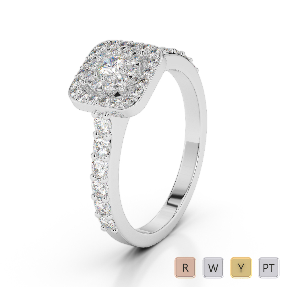 Gold / Platinum Diamond & Gemstone Engagement Ring AGDR-1189