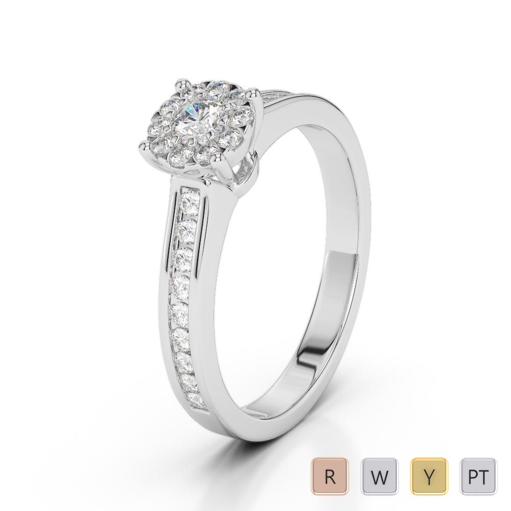 Gold / Platinum Round Cut Diamond Engagement Ring AGDR-1190