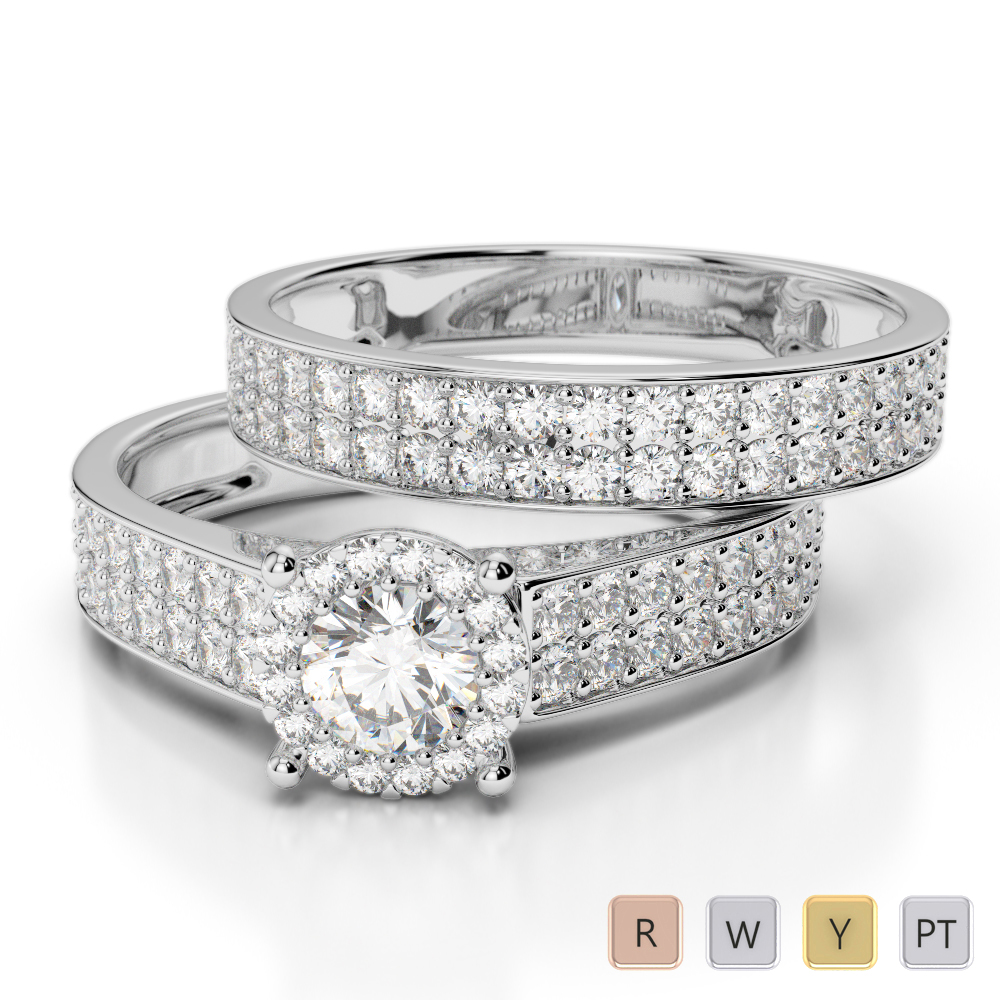 Gold / Platinum Round cut Diamond Bridal Set Ring AGDR-1191