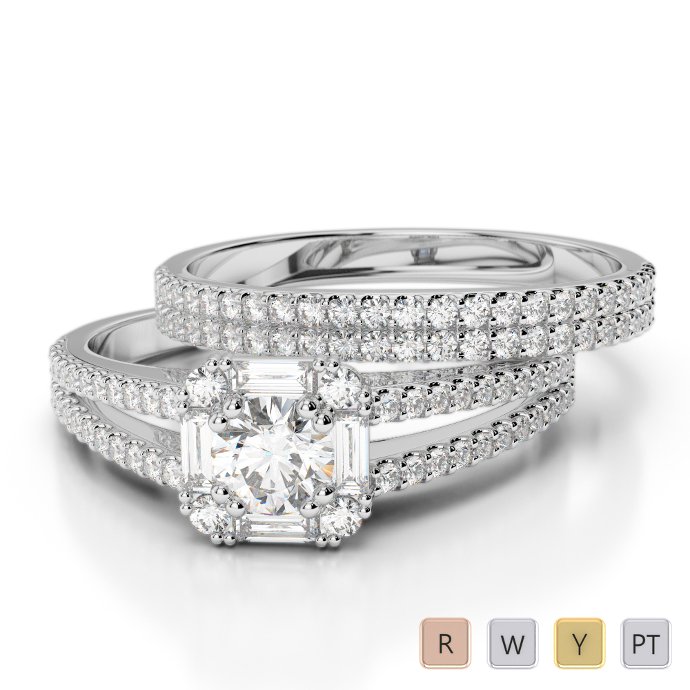 Gold / Platinum Diamond Bridal Set Ring AGDR-1193