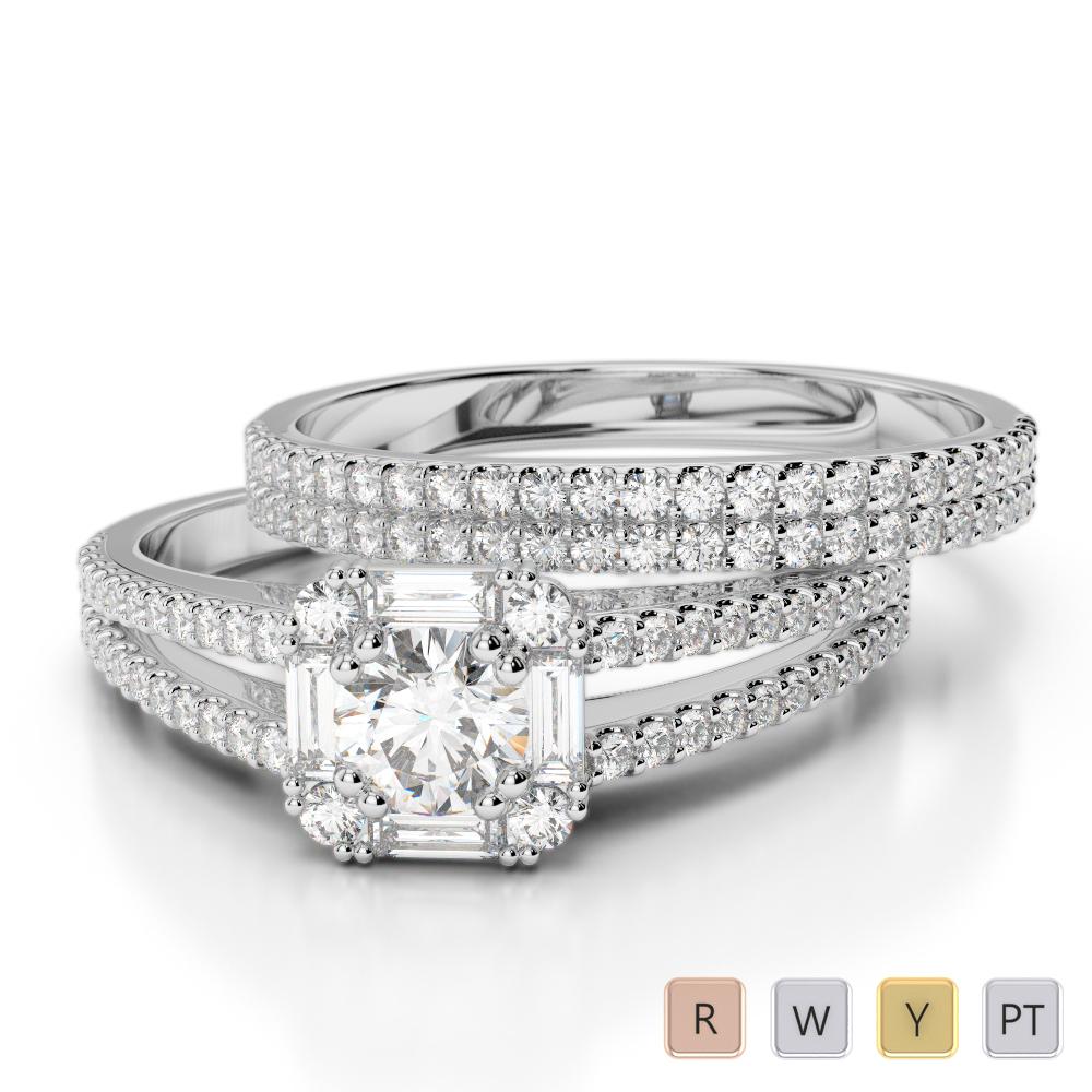 Gold / Platinum Round cut Diamond Bridal Set Ring AGDR-1193