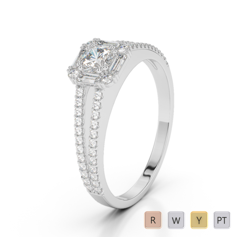 Gold / Platinum Diamond Engagement Ring AGDR-1194