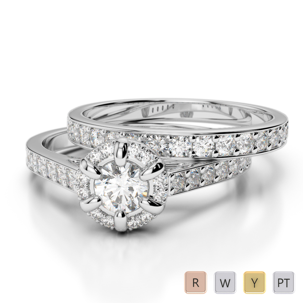 Gold / Platinum Round cut Diamond Bridal Set Ring AGDR-1195