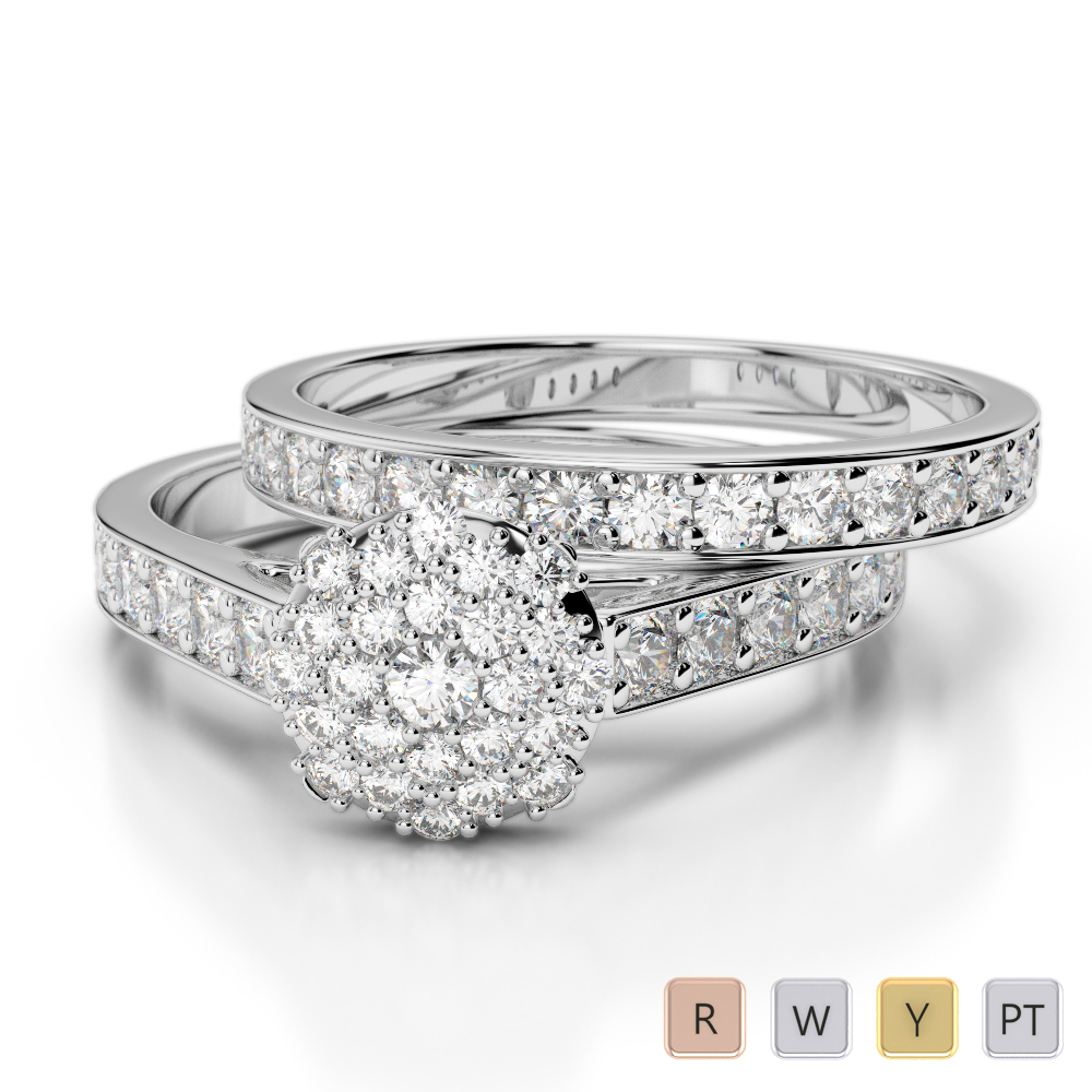 Gold / Platinum Diamond Bridal Set Ring AGDR-1197