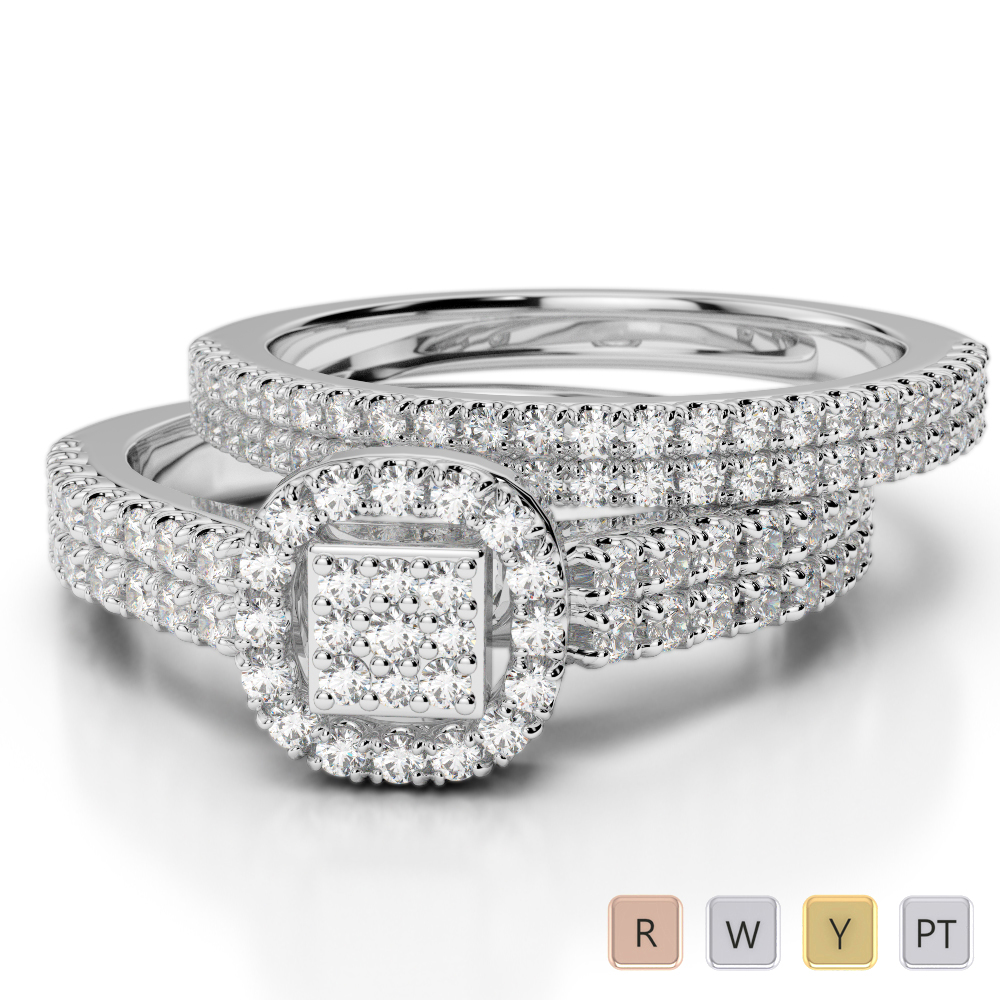 Gold / Platinum Diamond Bridal Set Ring AGDR-1199
