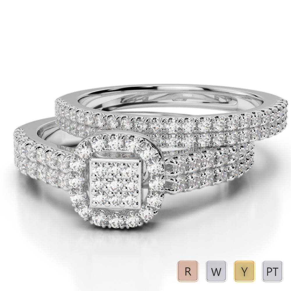 Gold / Platinum Round cut Diamond Bridal Set Ring AGDR-1199