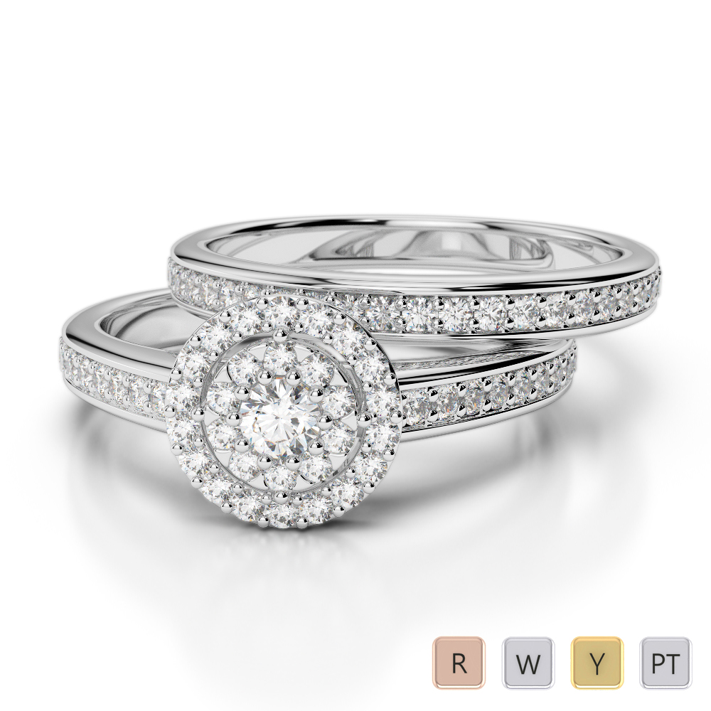 Gold / Platinum Round cut Diamond Bridal Set Ring AGDR-1239
