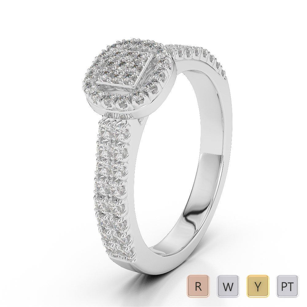 Gold / Platinum Round Cut Diamond Engagement Ring AGDR-2000