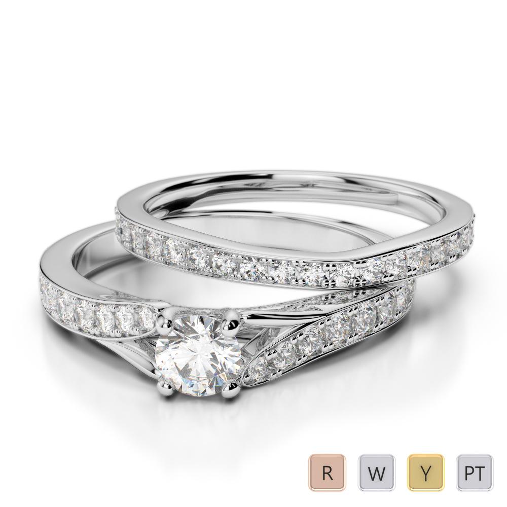 Gold / Platinum Round cut Diamond Bridal Set Ring AGDR-2011